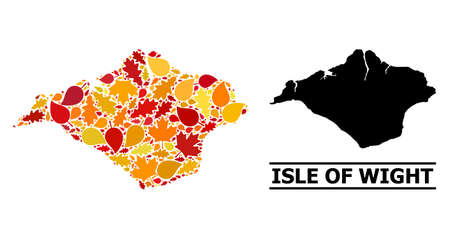 Mosaic autumn leaves and usual map of Isle of Wight. Vector map of Isle of Wight is composed with random autumn maple and oak leaves. Abstract territorial plan in bright gold, red, Vetores