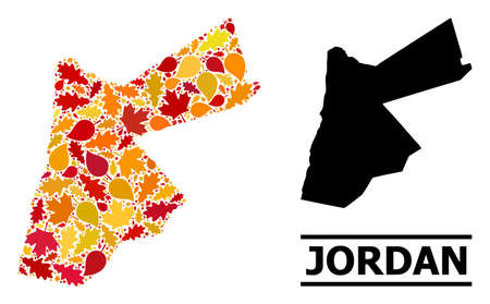 Mosaic autumn leaves and usual map of Jordan. Vector map of Jordan is shaped of random autumn maple and oak leaves. Abstract geographic scheme in bright gold, red, brown colors for map of Jordan.