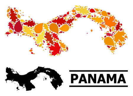 Mosaic autumn leaves and usual map of Panama. Vector map of Panama is created of randomized autumn maple and oak leaves. Abstract territory plan in bright gold, red, brown colors for map of Panama.