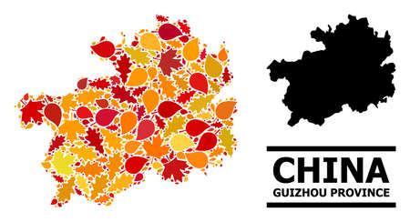 Mosaic autumn leaves and solid map of Guizhou Province. Vector map of Guizhou Province is made from randomized autumn maple and oak leaves. Abstract geographic plan in bright gold, red,