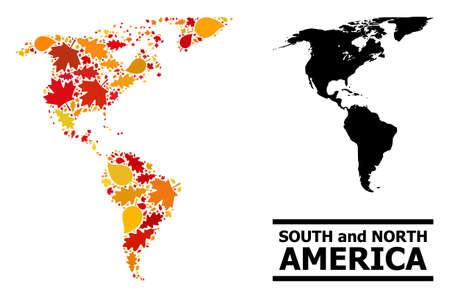 Mosaic autumn leaves and usual map of South and North America. Vector map of South and North America is composed of random autumn maple and oak leaves. Abstract geographic scheme in bright gold, red,
