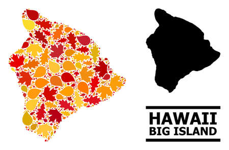 Mosaic autumn leaves and usual map of Hawaii Big Island. Vector map of Hawaii Big Island is created from random autumn maple and oak leaves. Abstract territorial scheme in bright gold, red,