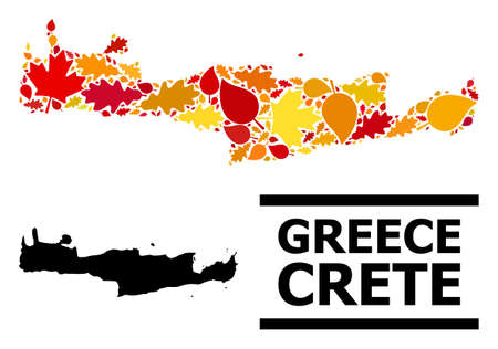 Mosaic autumn leaves and usual map of Crete Island. Vector map of Crete Island is made from scattered autumn maple and oak leaves. Abstract geographic scheme in bright gold, red,
