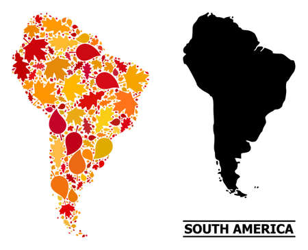 Mosaic autumn leaves and solid map of South America. Vector map of South America is designed of random autumn maple and oak leaves. Abstract territory plan in bright gold, red, Ilustración de vector