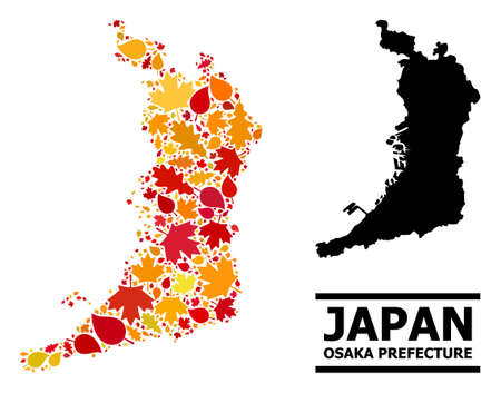 Mosaic autumn leaves and solid map of Osaka Prefecture. Vector map of Osaka Prefecture is done from scattered autumn maple and oak leaves. Abstract territory scheme in bright gold, red,