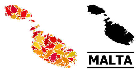 Mosaic autumn leaves and solid map of Malta. Vector map of Malta is done of randomized autumn maple and oak leaves. Abstract territorial plan in bright gold, red, brown colors for map of Malta.