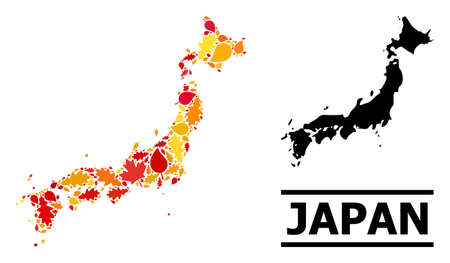 Mosaic autumn leaves and solid map of Japan. Map of Japan is done from randomized autumn maple and oak leaves. Abstract geographic scheme in bright gold, red, brown colors for map of Japan.