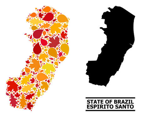 Mosaic autumn leaves and usual map of Espirito Santo State. Map of Espirito Santo State is made with randomized autumn maple and oak leaves. Abstract geographic scheme in bright gold, red Ilustración de vector