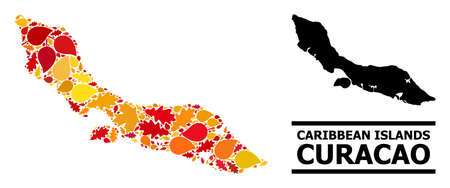 Mosaic autumn leaves and solid map of Curacao Island. Map of Curacao Island is created with randomized autumn maple and oak leaves. Abstract territory plan in bright gold, red