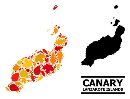 Mosaic autumn leaves and usual map of Lanzarote Islands. Map of Lanzarote Islands is done with randomized autumn maple and oak leaves. Abstract territory scheme in bright gold, red