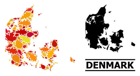 Mosaic autumn leaves and solid map of Denmark. Map of Denmark is shaped with randomized autumn maple and oak leaves. Abstract geographic plan in bright gold, red