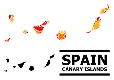 Mosaic autumn leaves and usual map of Canary Islands. Map of Canary Islands is designed from scattered autumn maple and oak leaves. Abstract geographic scheme in bright gold, red