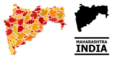 Mosaic autumn leaves and usual map of Maharashtra State. Map of Maharashtra State is created of randomized autumn maple and oak leaves. Abstract territorial plan in bright gold, red Ilustração