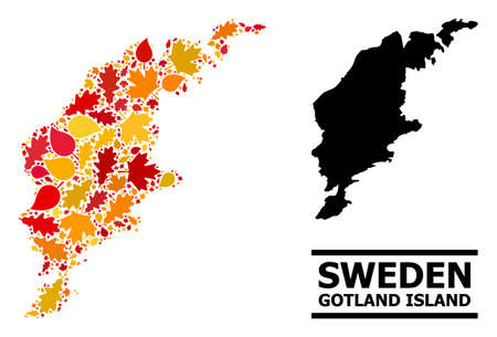 Mosaic autumn leaves and solid map of Gotland Island. Map of Gotland Island is shaped with randomized autumn maple and oak leaves. Abstract territorial scheme in bright gold, red