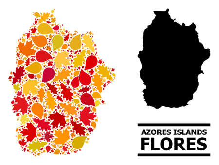 Mosaic autumn leaves and usual map of Azores - Flores Island. Vector map of Azores - Flores Island is designed with randomized autumn maple and oak leaves. Abstract territory plan in bright gold, red,