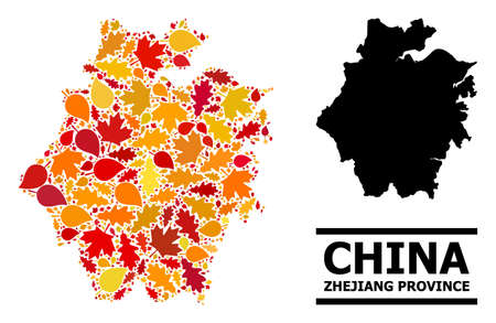 Mosaic autumn leaves and solid map of Zhejiang Province. Vector map of Zhejiang Province is organized with random autumn maple and oak leaves. Abstract territorial scheme in bright gold, red,