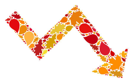 Recession Arrow mosaic icon combined for fall season. Vector recession arrow mosaic is made of randomized fall maple and oak leaves. Mosaic autumn leaves in bright gold, brown and red colors.