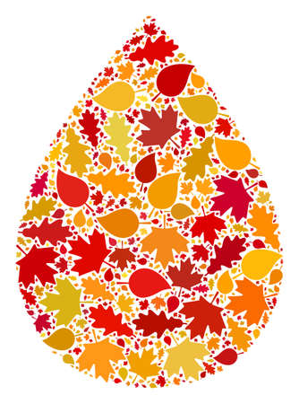 Water Drop collage icon organized for fall season. Vector water drop mosaic is organized from random autumn maple and oak leaves. Mosaic autumn leaves in bright gold, brown and red colors.