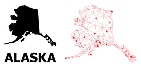 Wire frame polygonal and solid map of Alaska State. Vector structure is created from map of Alaska State with red stars. Abstract lines and stars are combined into map of Alaska State.