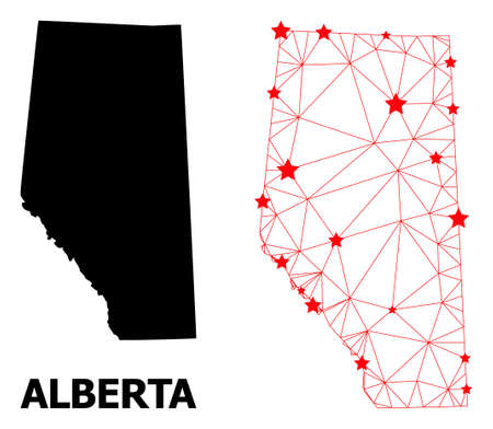 2D polygonal and solid map of Alberta Province. Vector model is created from map of Alberta Province with red stars. Abstract lines and stars are combined into map of Alberta Province.