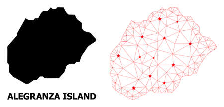 Network polygonal and solid map of Alegranza Island. Vector model is created from map of Alegranza Island with red stars. Abstract lines and stars are combined into map of Alegranza Island.