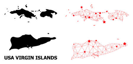 2D polygonal and solid map of American Virgin Islands. Vector structure is created from map of American Virgin Islands with red stars.