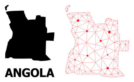 Network polygonal and solid map of Angola. Vector model is created from map of Angola with red stars. Abstract lines and stars form map of Angola.