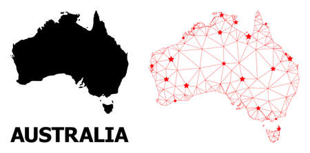 Carcass polygonal and solid map of Australia. Vector model is created from map of Australia with red stars. Abstract lines and stars form map of Australia.