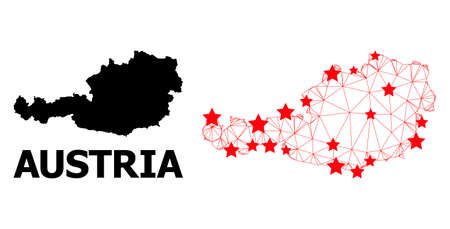 Mesh polygonal and solid map of Austria. Vector model is created from map of Austria with red stars. Abstract lines and stars are combined into map of Austria.