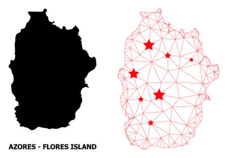 Network polygonal and solid map of Azores - Flores Island. Vector structure is created from map of Azores - Flores Island with red stars.