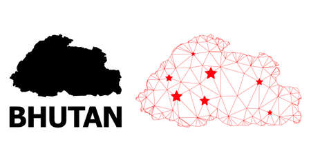 Network polygonal and solid map of Bhutan. Vector model is created from map of Bhutan with red stars. Abstract lines and stars form map of Bhutan. Linear frame 2D polygonal network in vector format.