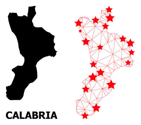 Wire frame polygonal and solid map of Calabria region. Vector model is created from map of Calabria region with red stars. Abstract lines and stars form map of Calabria region.