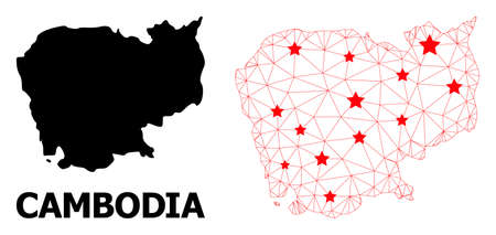 Network polygonal and solid map of Cambodia. Vector structure is created from map of Cambodia with red stars. Abstract lines and stars form map of Cambodia.