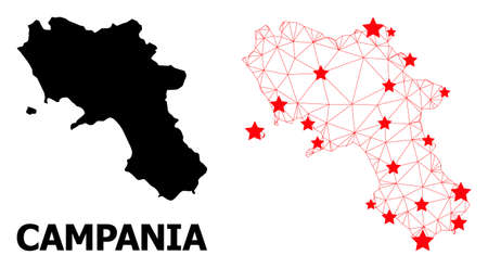 Network polygonal and solid map of Campania region. Vector model is created from map of Campania region with red stars. Abstract lines and stars form map of Campania region.