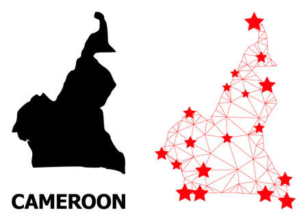 Wire frame polygonal and solid map of Cameroon. Vector model is created from map of Cameroon with red stars. Abstract lines and stars are combined into map of Cameroon.