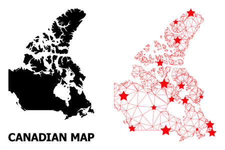 Carcass polygonal and solid map of Canada. Vector structure is created from map of Canada with red stars. Abstract lines and stars form map of Canada.