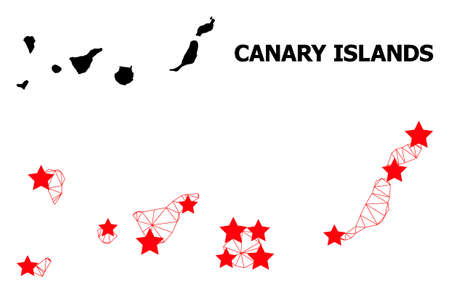 Network polygonal and solid map of Canary Islands. Vector model is created from map of Canary Islands with red stars. Abstract lines and stars are combined into map of Canary Islands.
