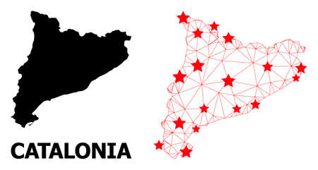 2D polygonal and solid map of Catalonia. Vector model is created from map of Catalonia with red stars. Abstract lines and stars are combined into map of Catalonia.