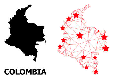 Network polygonal and solid map of Colombia. Vector model is created from map of Colombia with red stars. Abstract lines and stars form map of Colombia.