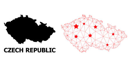 Wire frame polygonal and solid map of Czech Republic. Vector model is created from map of Czech Republic with red stars. Abstract lines and stars form map of Czech Republic.