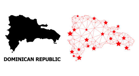Wire frame polygonal and solid map of Dominican Republic. Vector structure is created from map of Dominican Republic with red stars. 矢量图像