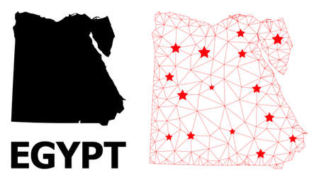Wire frame polygonal and solid map of Egypt. Vector structure is created from map of Egypt with red stars. Abstract lines and stars are combined into map of Egypt.