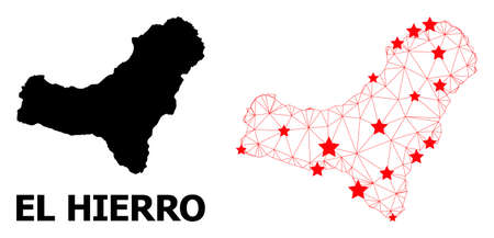 Wire frame polygonal and solid map of El Hierro Island. Vector structure is created from map of El Hierro Island with red stars. Abstract lines and stars form map of El Hierro Island. Illustration