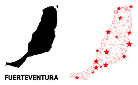 2D polygonal and solid map of Fuerteventura Island. Vector structure is created from map of Fuerteventura Island with red stars. Abstract lines and stars form map of Fuerteventura Island.