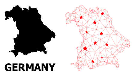 Mesh polygonal and solid map of Germany. Vector structure is created from map of Germany with red stars. Abstract lines and stars are combined into map of Germany. Ilustração