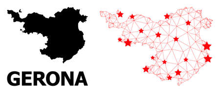 Network polygonal and solid map of Gerona Province. Vector structure is created from map of Gerona Province with red stars. Abstract lines and stars form map of Gerona Province.