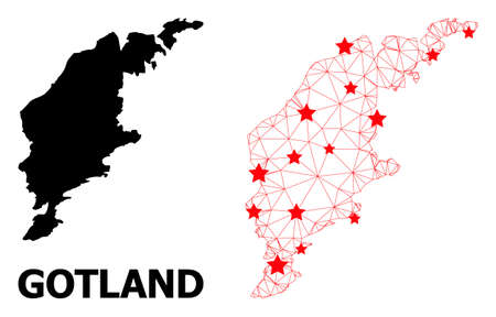 Network polygonal and solid map of Gotland Island. Vector model is created from map of Gotland Island with red stars. Abstract lines and stars are combined into map of Gotland Island.