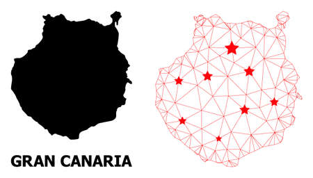 Wire frame polygonal and solid map of Gran Canaria. Vector model is created from map of Gran Canaria with red stars. Abstract lines and stars are combined into map of Gran Canaria.