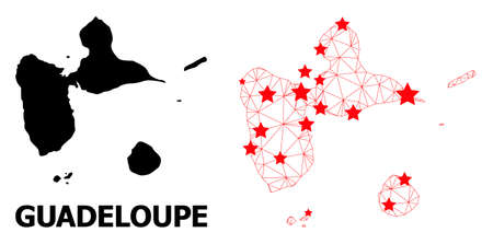 Wire frame polygonal and solid map of Guadeloupe. Vector model is created from map of Guadeloupe with red stars. Abstract lines and stars are combined into map of Guadeloupe.
