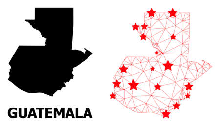 Carcass polygonal and solid map of Guatemala. Vector model is created from map of Guatemala with red stars. Abstract lines and stars are combined into map of Guatemala. Ilustração